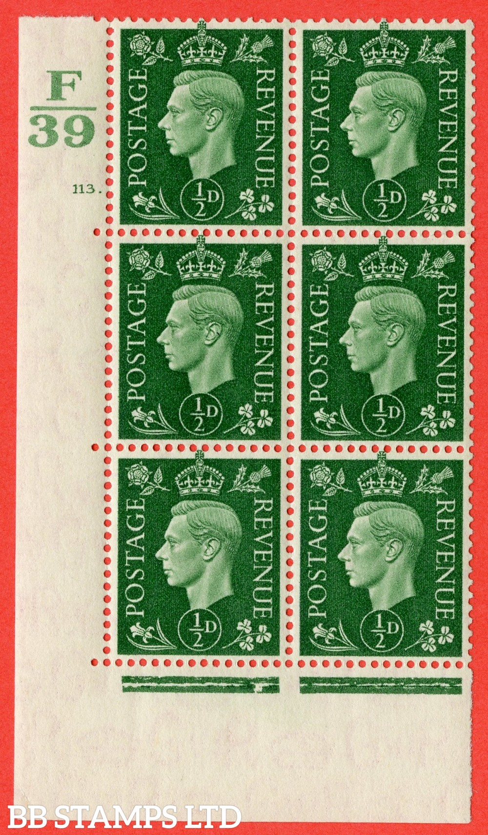 "SG. 462. Q1. ½d Green. A superb UNMOUNTED MINT "" Control E39 cylinder 113 dot "" block of 6 with perf type 5 E/I with marginal rule."
