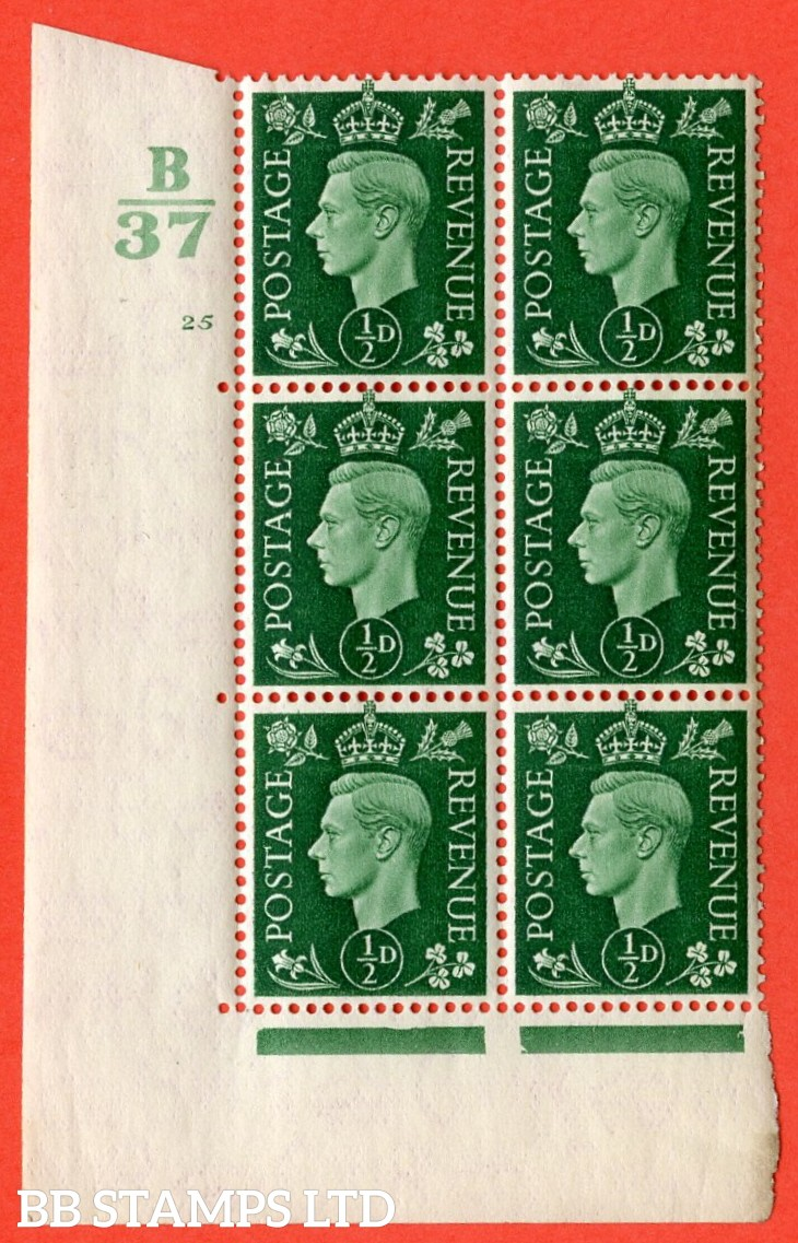 "SG. 462. Q1. ½d Green. A superb UNMOUNTED MINT"" Control B37 cylinder 25 no dot "" block of 6 with perf type 5 E/I with marginal rule."