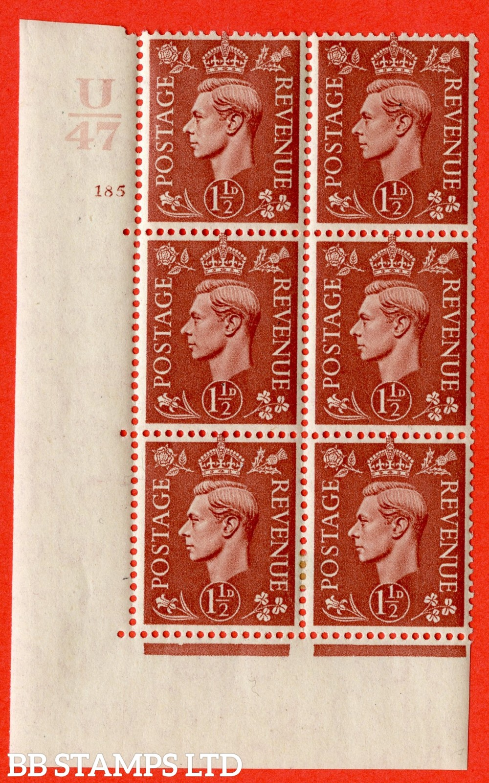 "SG. 487. Q8. 1½d Pale Red-Brown. A fine lightly mounted mint "" Control U47 cylinder 185 no dot "" control block of 6 with perf type 5 E/I."