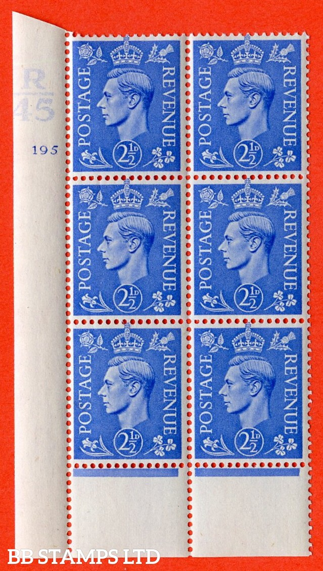 "SG. 489. Q14. 2½d Light ultramarine. A superb UNMOUNTED MINT "" Control R45 cylinder 195 (i) no dot "" control block of 6 with perf type 6 I/P."