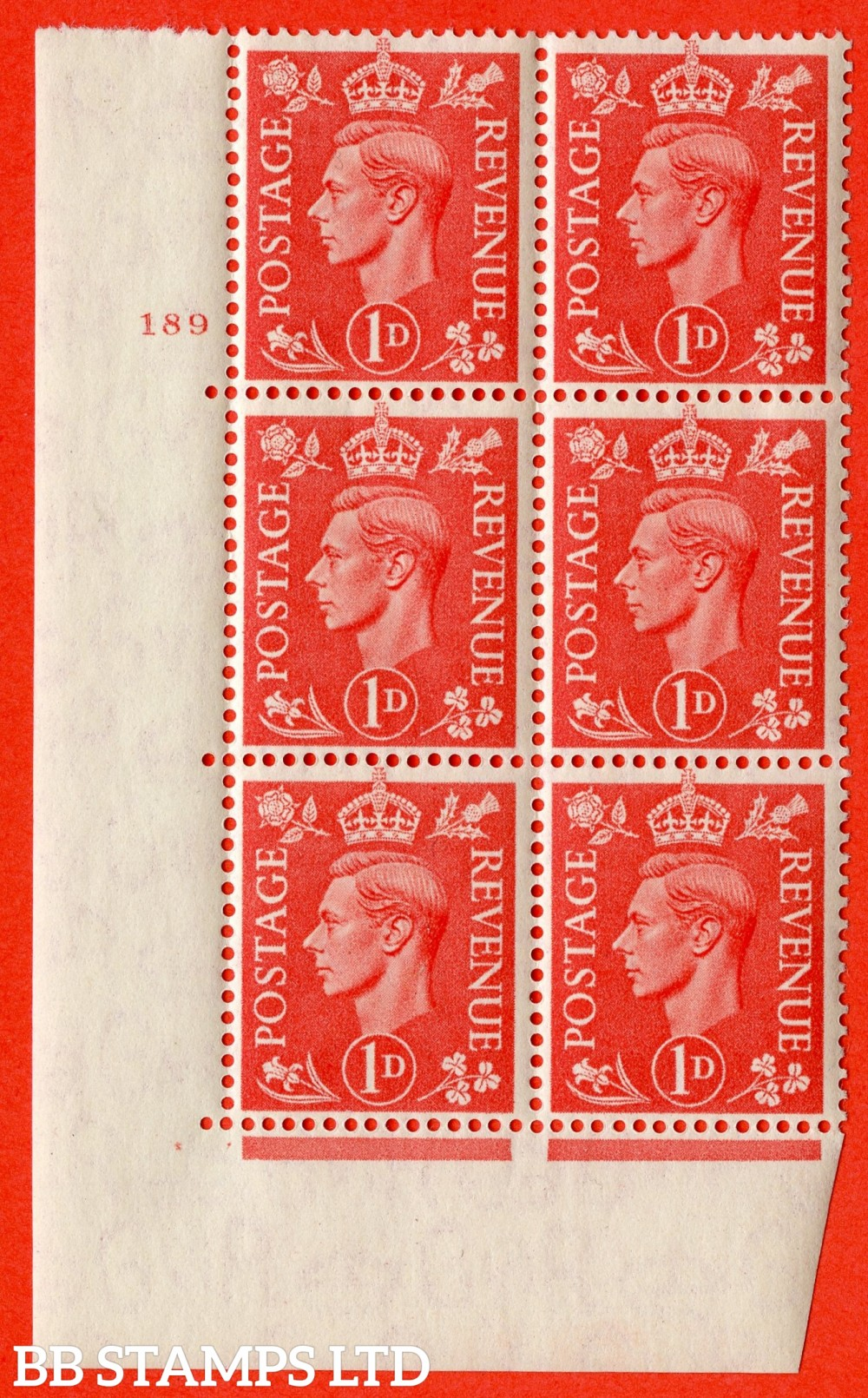"SG. 486. Q5A. 1d Pale scarlet. A fine lightly mounted mint ""  No Control cylinder 189 no dot "" control block of 6 with perf type 5 E/I."