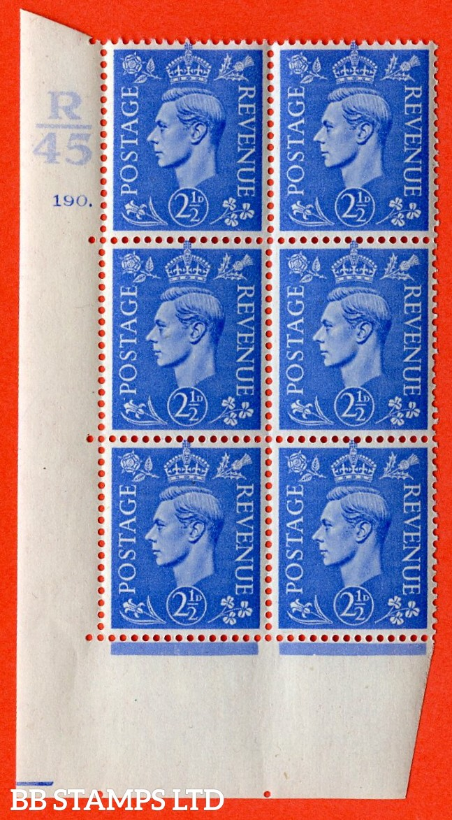 "SG. 489. Q14. 2½d Light ultramarine. A superb UNMOUNTED MINT ""  Control R45 cylinder 190 dot "" control block of 6 with perf type 5 E/I."