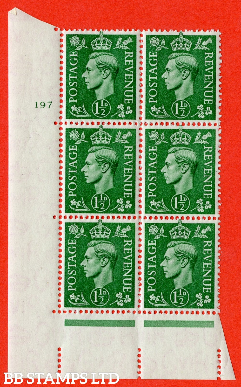 "SG. 505. Q9. 1½d Pale Green. A superb UNMOUNTED MINT "" No Control cylinder 197 no dot "" control block of 6 with perf type 5 E/I."