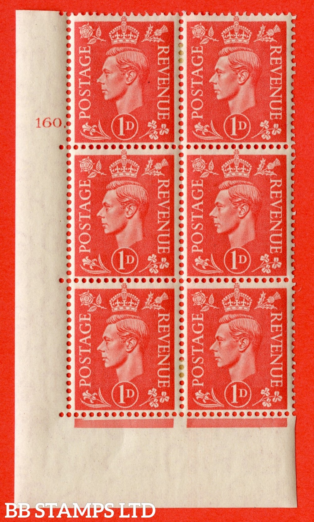 """SG. 486. Q5. 1d Pale scarlet. A fine lightly mounted mint """"  No Control cylinder 160 dot """" control block of 6 with perf type 5 E/I."""