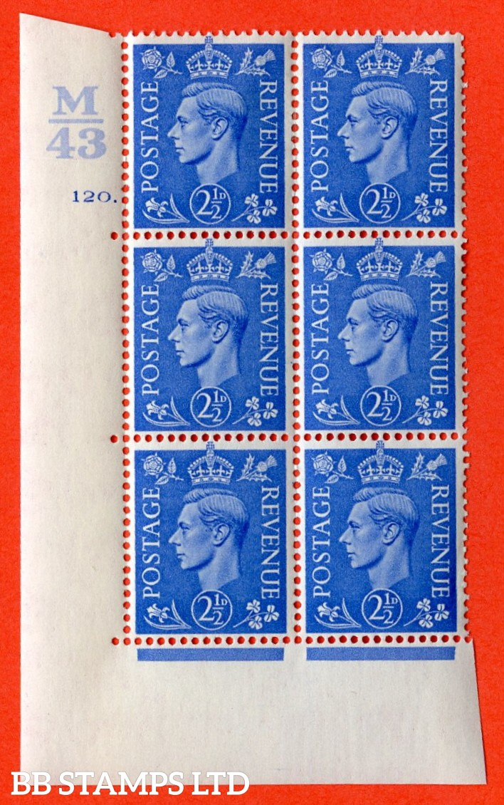 """SG. 489. Q14. 2½d Light ultramarine. A very fine lightly mounted mint """"  Control M43 cylinder 120 dot """" control block of 6 with perf type 5 E/I."""