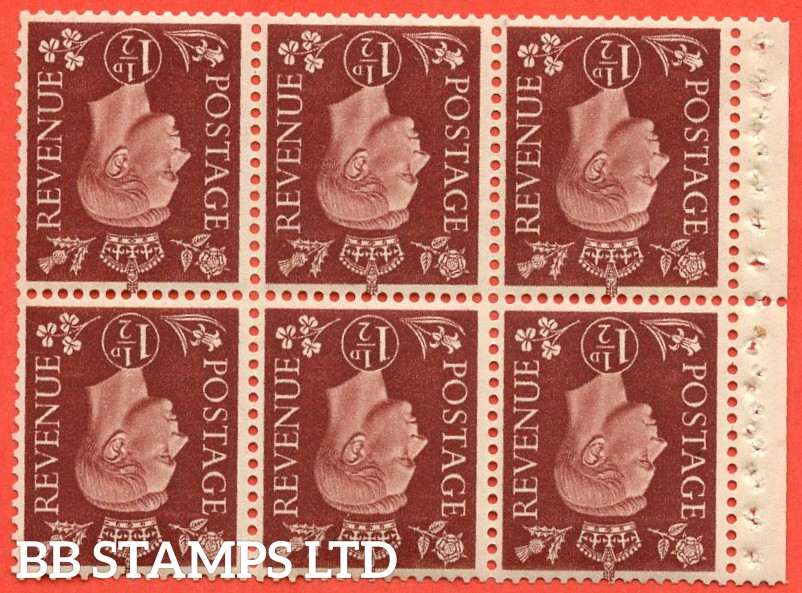 SG. 464 wi. QB21 a. 1½d Red - Brown.  INVERTED WATERMARK. A fine UNMOUNTED MINT complete booklet pane with selvedge. Perf type P.