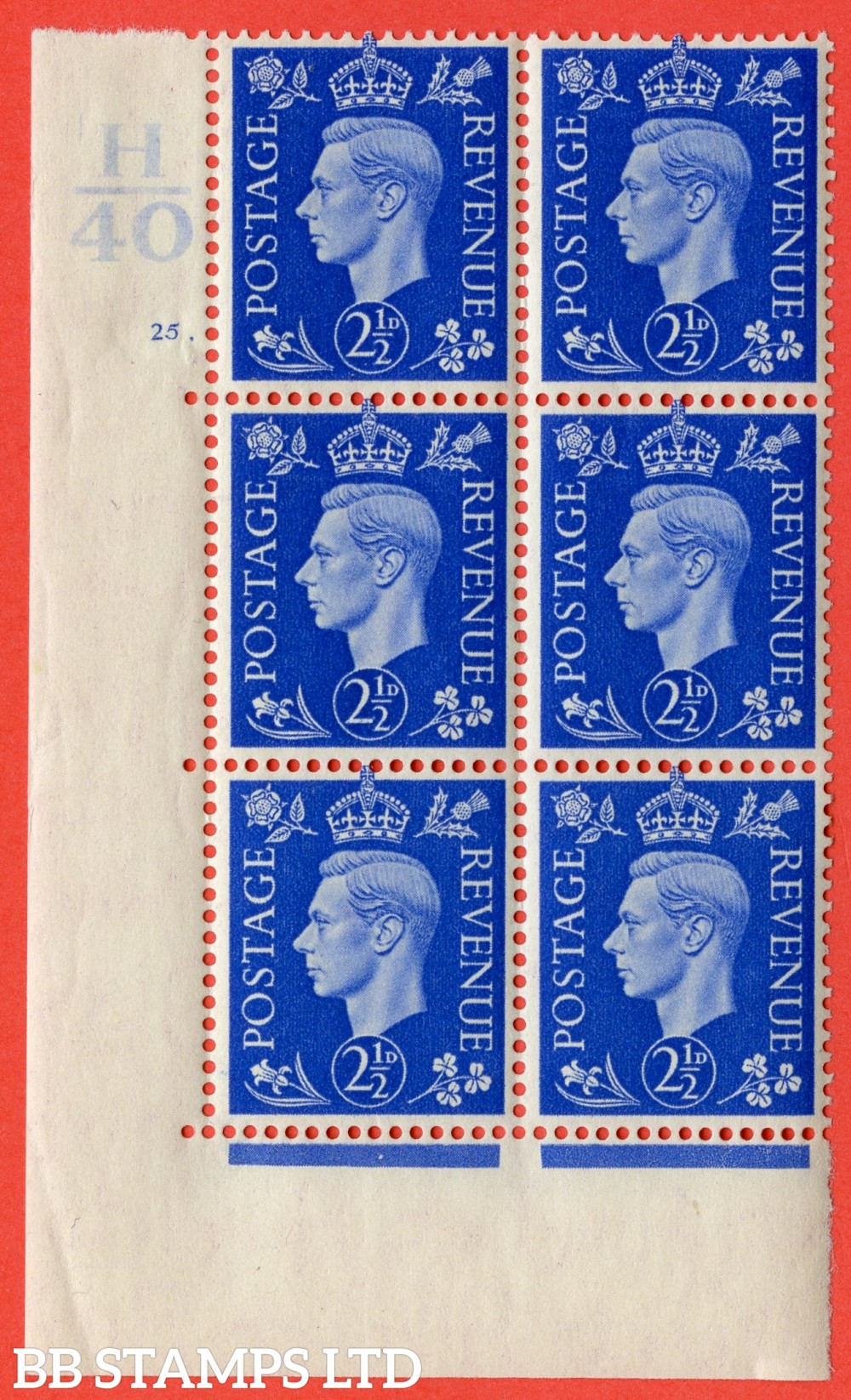 """SG. 466. Q13. 2½d Ultramarine.  A very fine lightly mounted mint """" Control H40 cylinder 25 dot """" control block of 6 with perf type 5 E/I with marginal rule."""