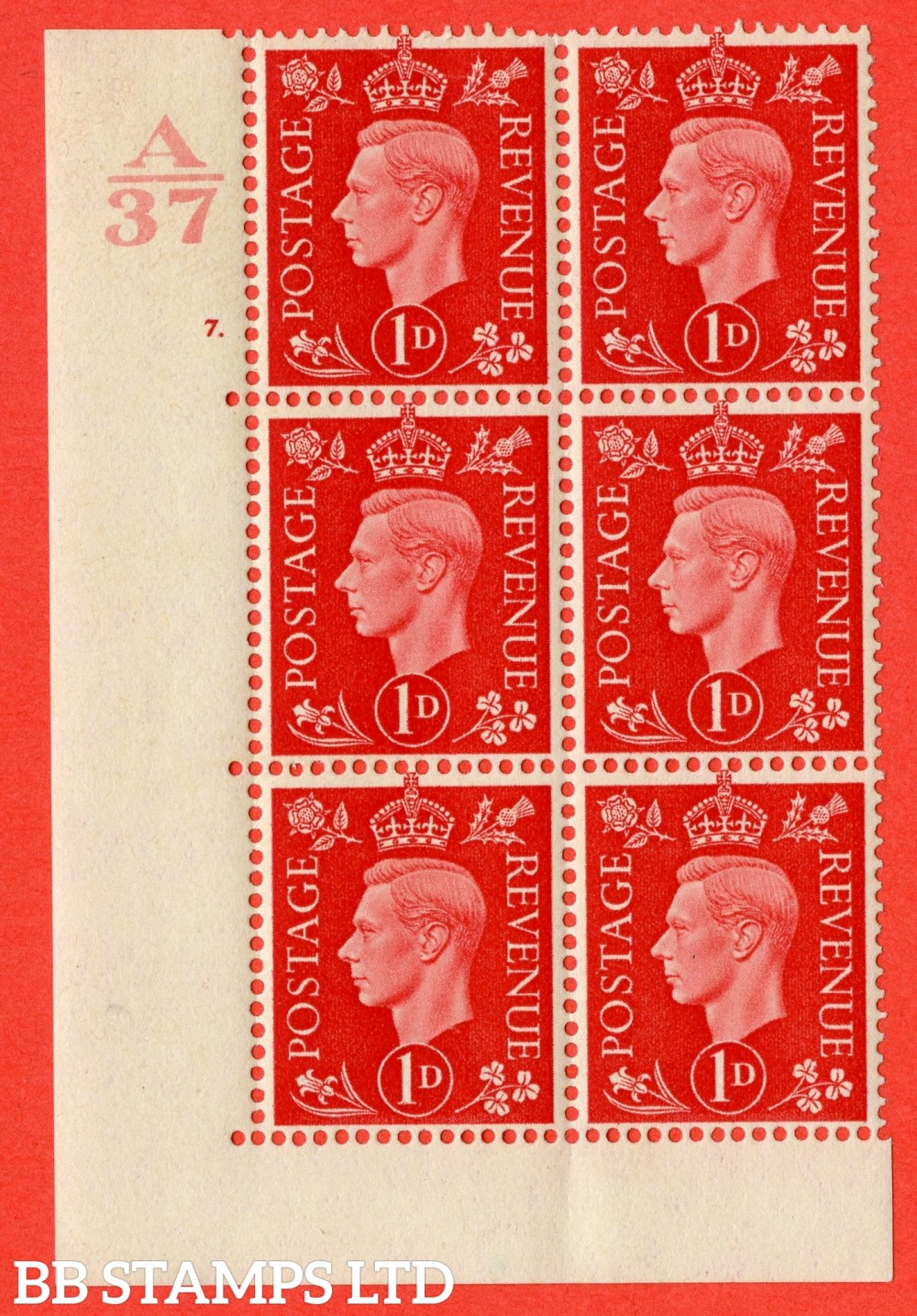 "SG. 463. Q4. 1d Scarlet. A very fine lightly mounted mint "" Control A37 cylinder 7 dot "" block of 6 with perf type 5 E/I without marginal rule."