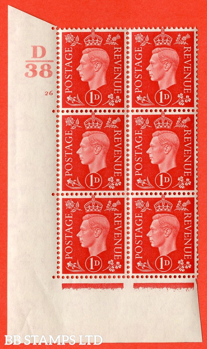 "SG. 463. Q4. 1d Scarlet. A superb UNMOUNTED MINT "" Control D38 cylinder 26 no dot "" block of 6 with perf type 5 E/I with marginal rule."