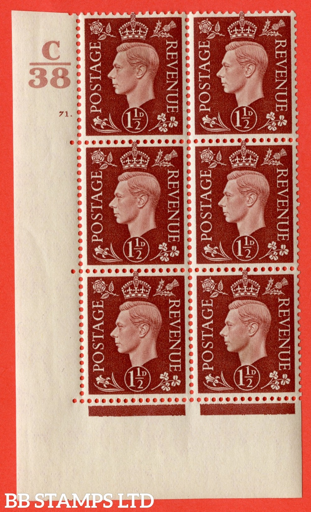 """SG. 464. Q7. 1½d Red-Brown. A fine lightly mounted mint """" Control C38 cylinder 71 dot """" control block of 6 with perf type 5 E/I. with marginal rule."""