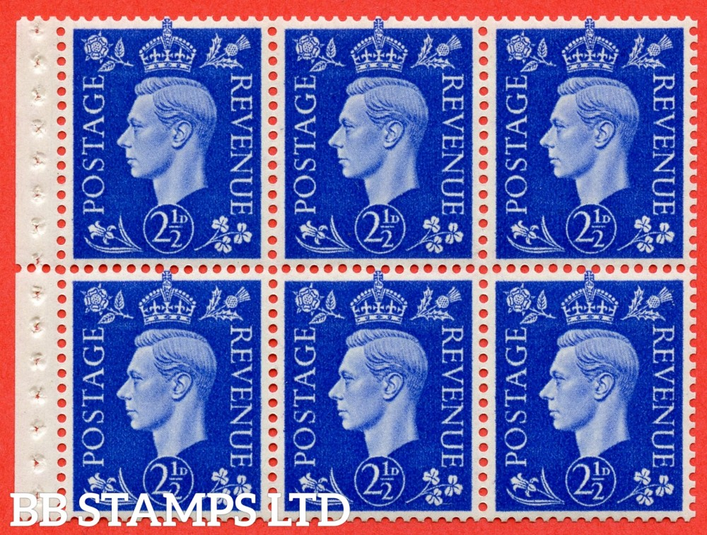 SG. 466 c. QB32. 2½d blue. A fine UNMOUNTED MINT booklet pane of 6. Perf type P.