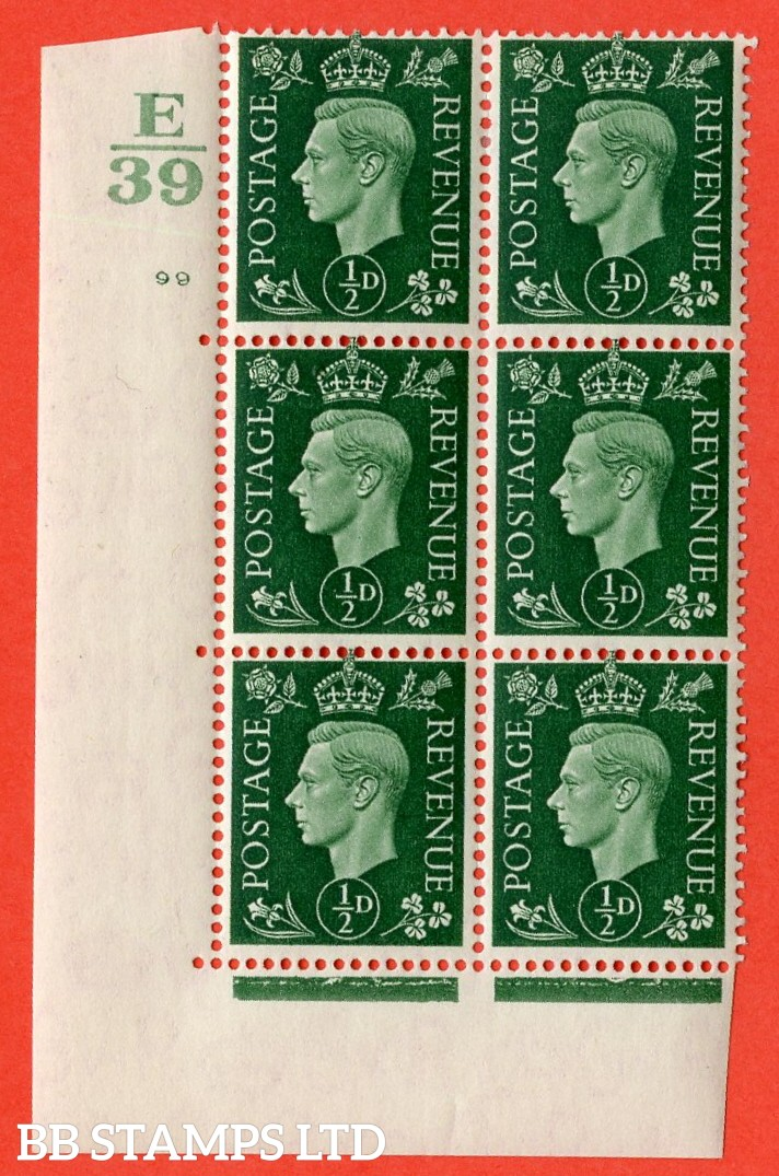 "SG. 462. Q1. ½d Green. A very fine lightly mounted mint "" Control E39 cylinder 99 no dot "" block of 6 with perf type 5 E/I with marginal rule."
