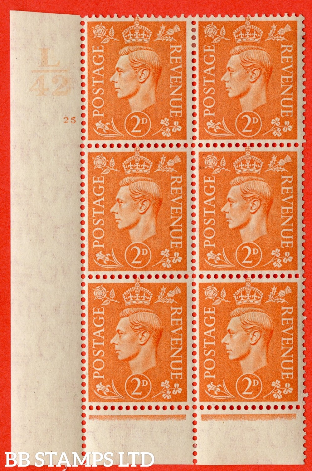 "SG. 488. Q11. 2d Pale Orange. A fine ligthtly mounted mint "" Control L42 cylinder 25 no dot "" control block of 6 with perf type 6 I/P."