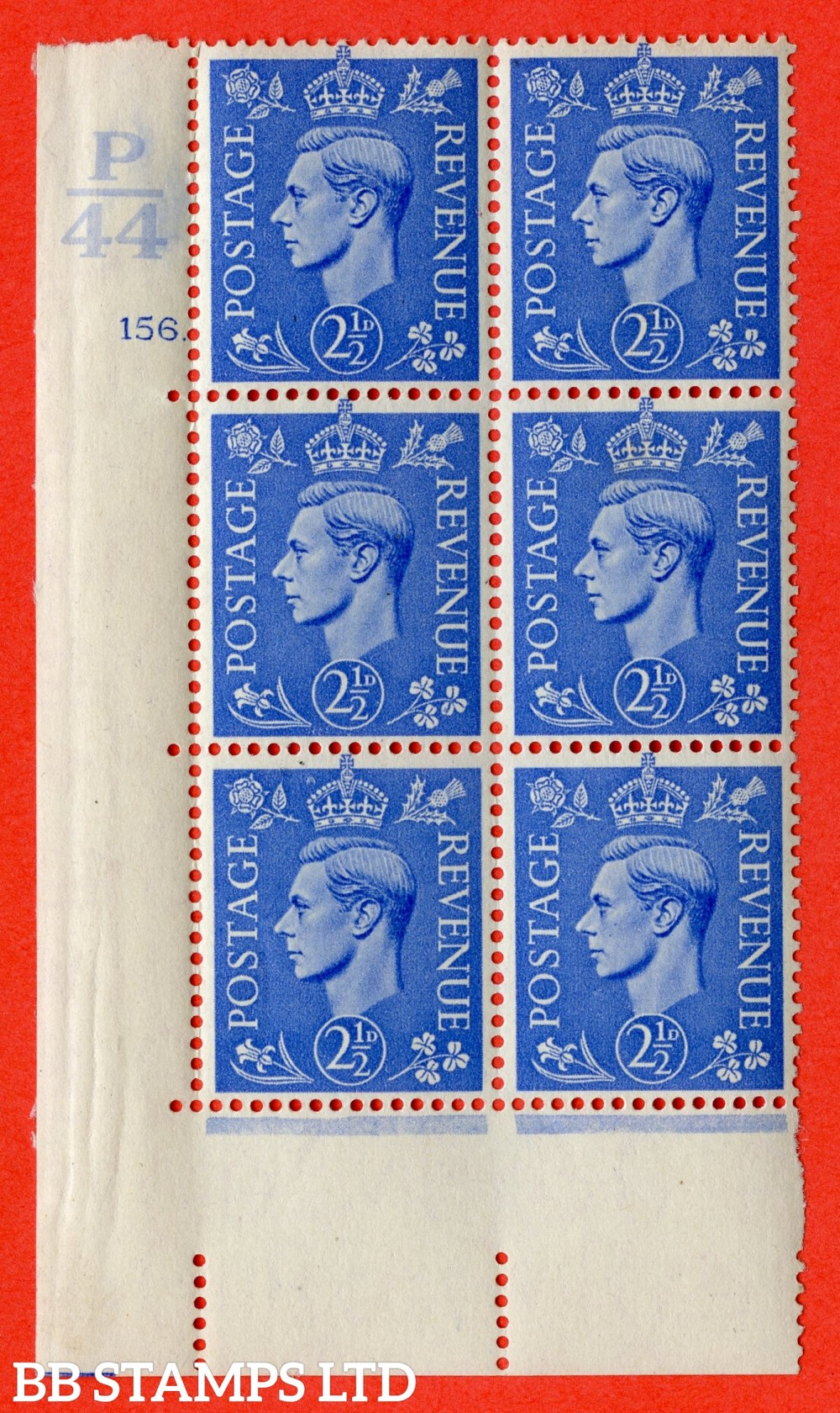 """SG. 489. Q14. 2½d Light ultramarine. A very fine lightly mounted mint """"  Control P44 cylinder 156 dot """" control block of 6 with perf type 5 E/I."""