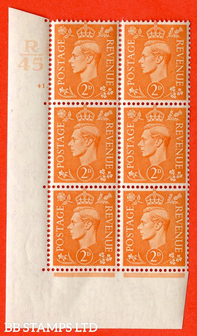 "SG. 488. Q11. 2d Pale Orange. A very fine lightly mounted mint. "" Control R45 cylinder 41 dot "" control block of 6 with perf type 5 E/I."