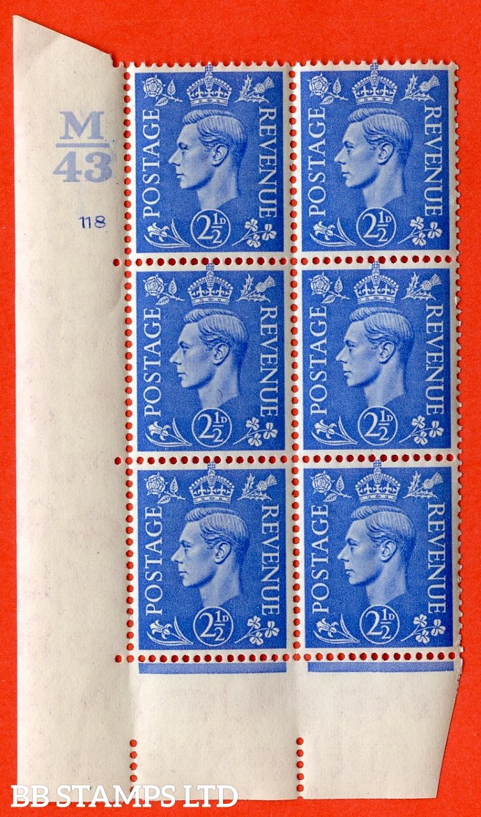 "SG. 489. Q14. 2½d Light ultramarine. A superb UNMOUNTED MINT "" Control M43 cylinder 118 no dot "" control block of 6 with perf type 5 E/I."
