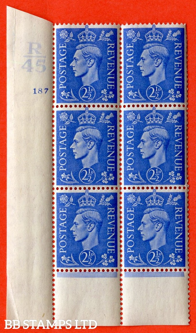 "SG. 489. Q14. 2½d Light ultramarine. A  superb UNMOUNTED MINT ""  Control R45 cylinder 187 no dot "" control block of 6 with perf type 6 I/P."