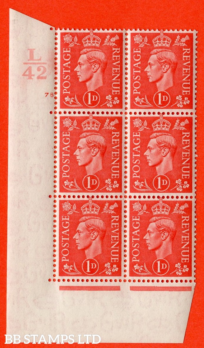 "SG. 486. Q5. 1d Pale scarlet. A superb UNMOUNTED MINT ""  Control L42 cylinder 78 no dot "" control block of 6 with perf type 5 E/I."