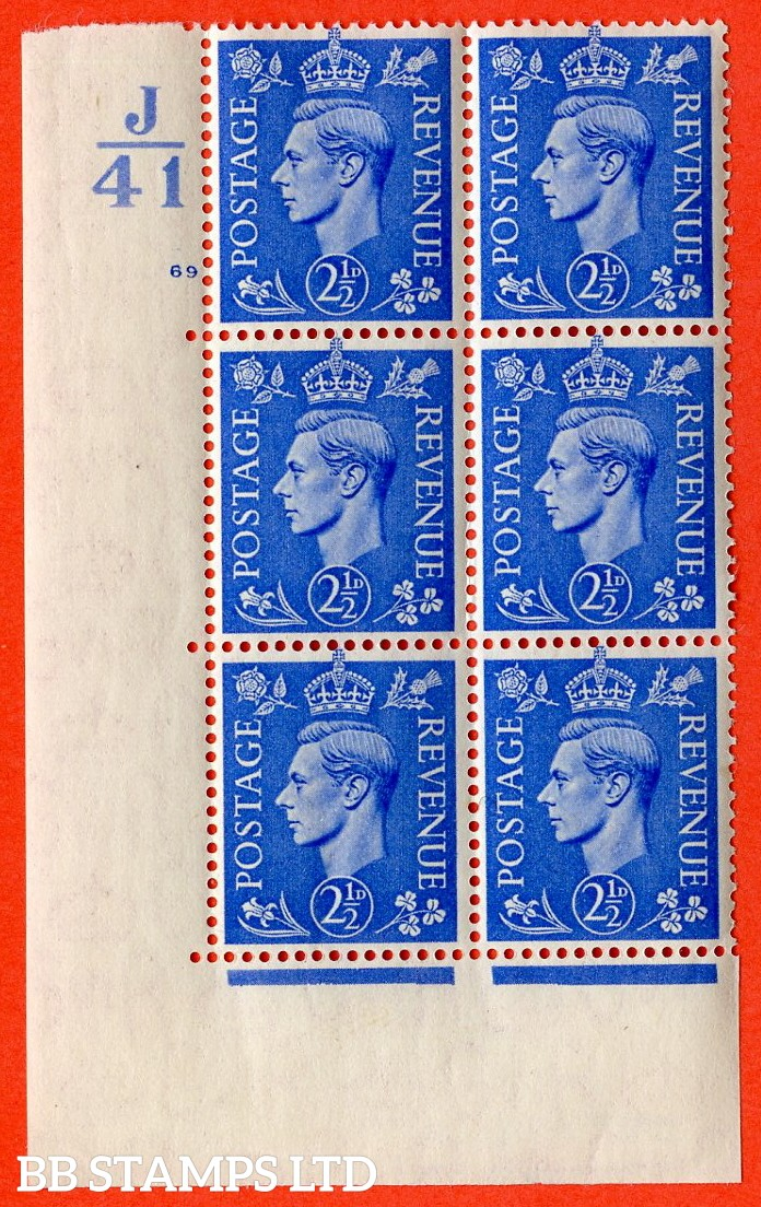 "SG. 489. Q14. 2½d Light ultramarine. A very fine lightly mounted mint ""  Control J41 cylinder 69 no dot "" control block of 6 with perf type 5 E/I."