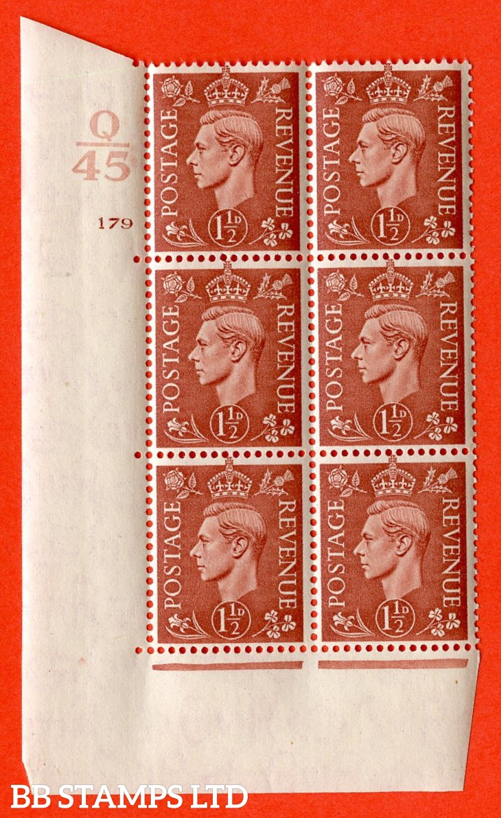 "SG. 487. Q8. 1½d Pale Red-Brown. A superb UNMOUNTED MINT "" Control S45 cylinder 179 no dot "" control block of 6 with perf type 5 E/I."