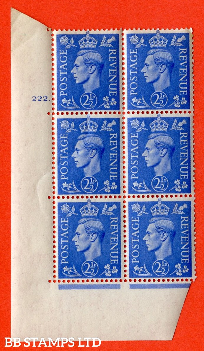 "SG. 489. Q14. 2½d Light ultramarine. A superb UNMOUNTED MINT ""  No Control cylinder 222 dot "" control block of 6 with perf type 5 E/I."