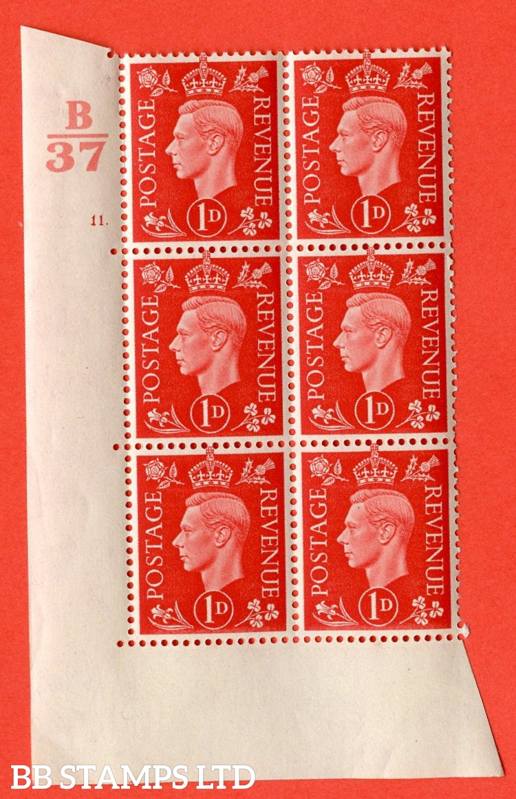 """SG. 463. Q4. 1d Scarlet. A superb UNMOUNTED MINT """" Control B37  cylinder 11 dot """" block of 6 with perf type 5 E/I without marginal rule."""