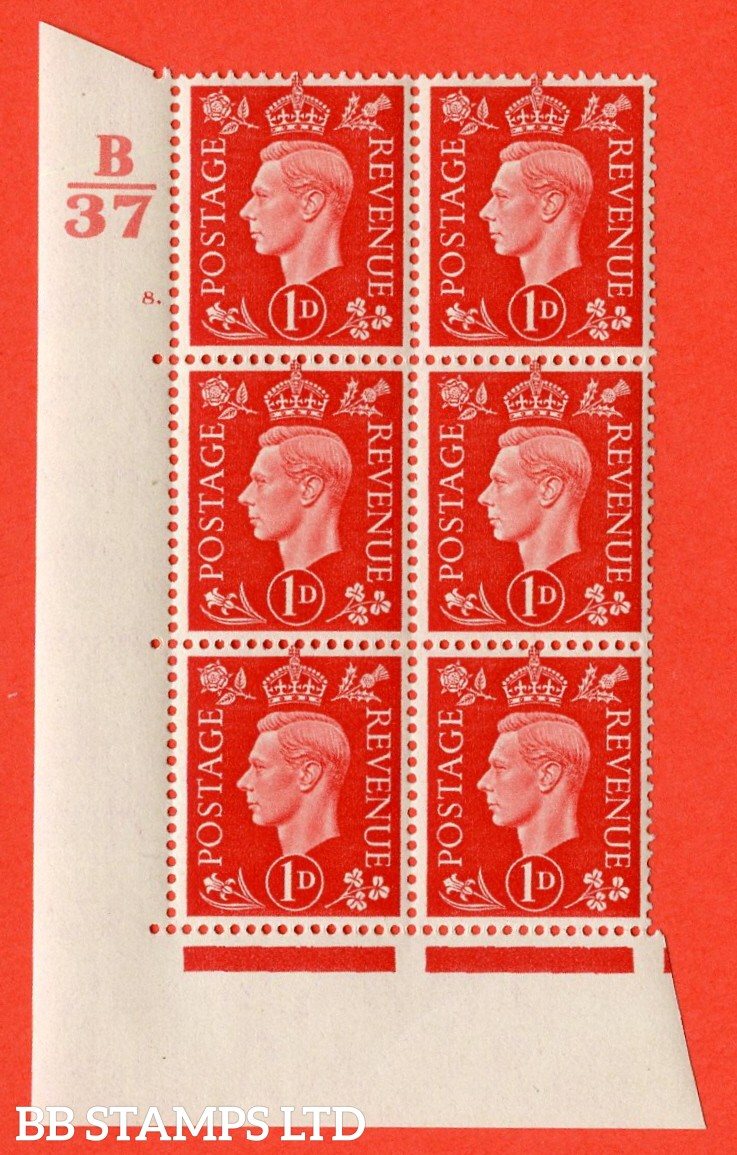 """SG. 463. Q4. 1d Scarlet. A superb UNMOUNTED MINT """" Control B37 cylinder 8 dot """" block of 6 with perf type 5 E/I with marginal rule."""