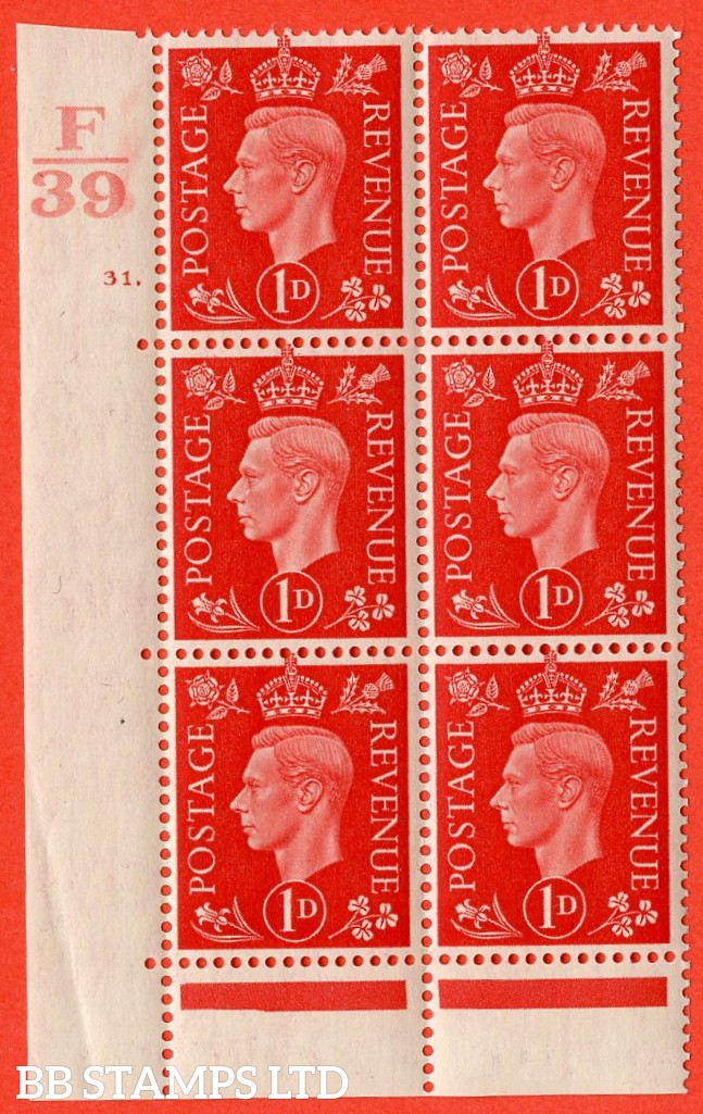 "SG. 463. Q4. 1d Scarlet. A superb UNMOUNTED MINT "" Control F39 cylinder 31 dot "" block of 6 with perf type 6B E/P with marginal rule."