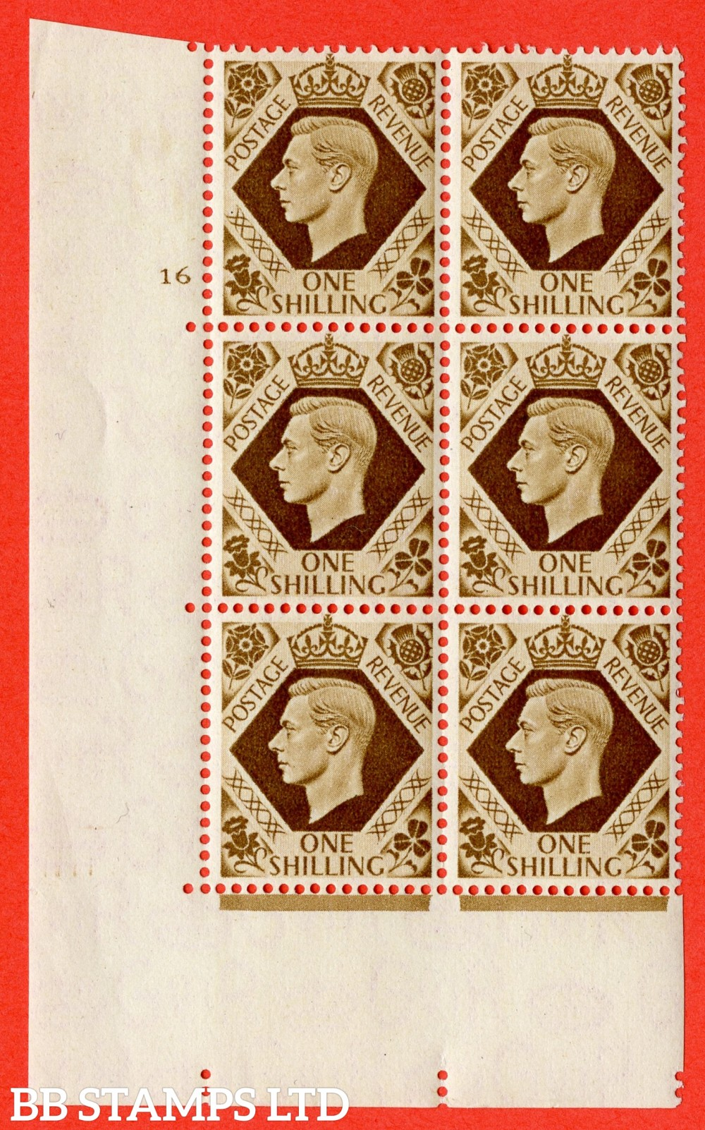 "SG. 475. Q28. 1/- Bistre-Brown. A superb UNMOUNTED MINT "" Control S46 cylinder 16 no dot "" control block of 6 with perf type 5 E/I."