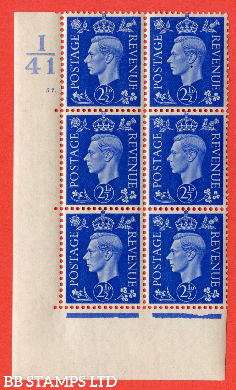 """SG. 466. Q13. d. 2½d Ultramarine.  A superb UNMOUNTED MINT """" Control I41 cylinder 57 dot """" control block of 6 with perf type 5 E/I with marginal rule."""