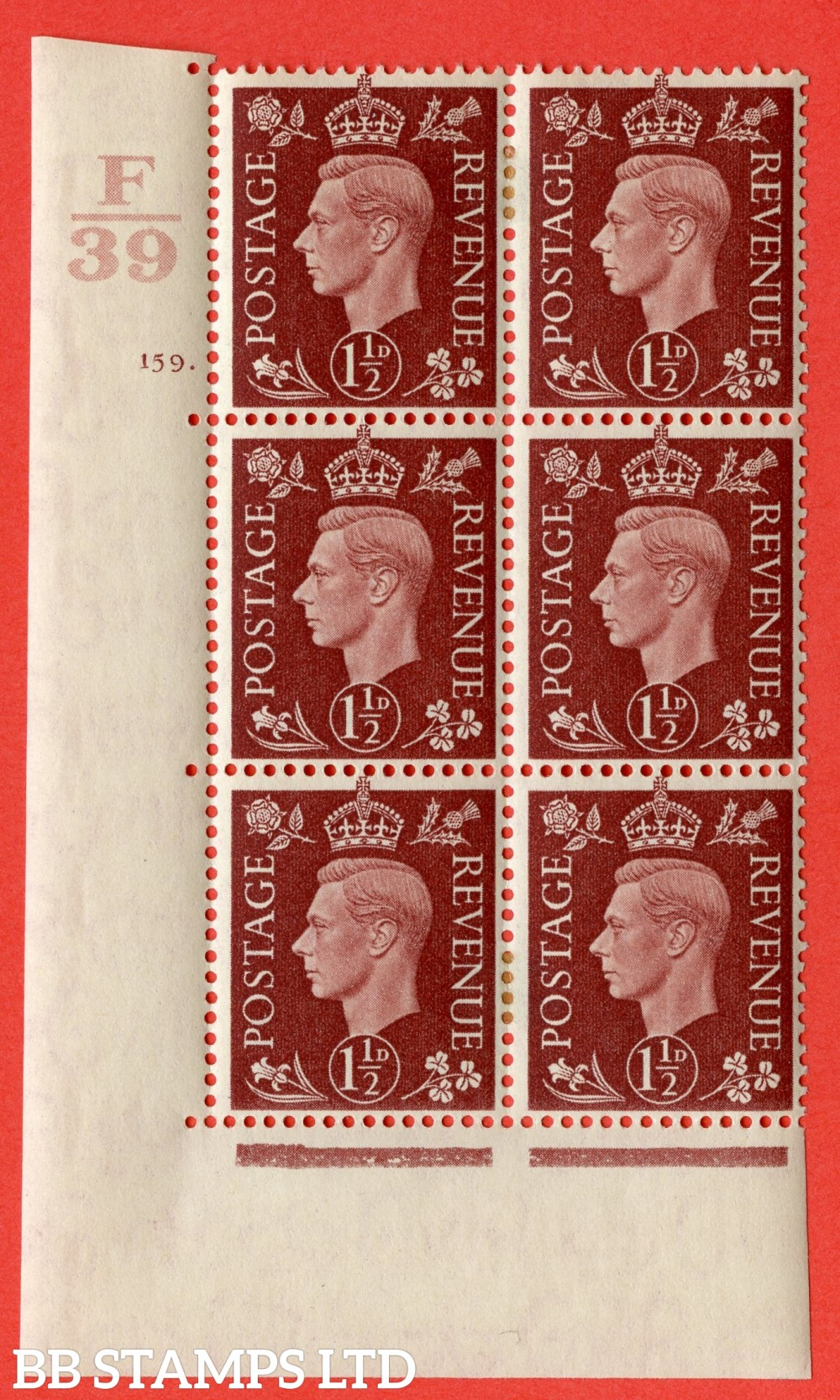 "SG. 464. Q7. 1½d Red-Brown. A very fine mounted mint "" Control F39 cylinder 159 dot "" control block of 6 with perf type 5 E/I. with marginal rule."