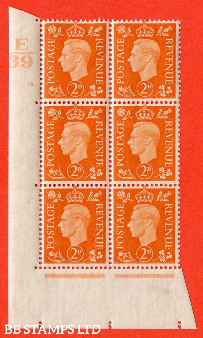 "SG. 465. Q10. 2d Orange. A very fine lightly mounted mint "" Control E39 cylinder 12 dot "" control block of 6 with perf type 5 E/I."