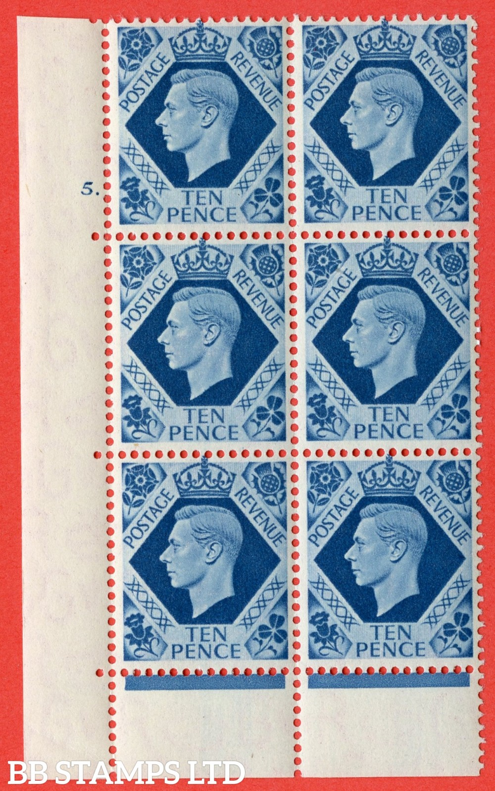 "SG. 474. Q26. 10d Turquoise-Blue. A fine lightly mounted mint "" No Control cylinder 5 dot "" control block of 6 with perf type 6B E/P."