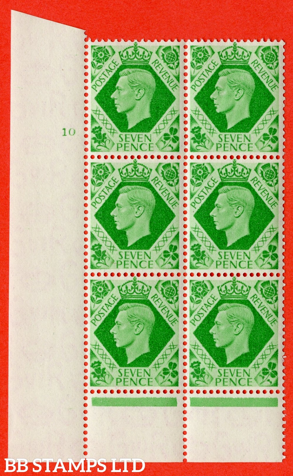 """SG. 471 c. Q23. 7d Emerald-Green. A fine lightly mounted mint """" No Control cylinder 10 no dot """" control block of 6 with perf type 6 I/P with listed variety """" Damaged N in REVENUE """" row 20/2."""