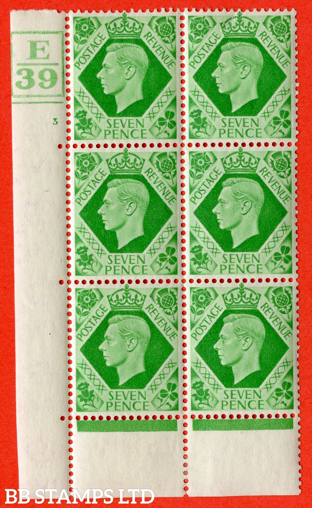 """SG. 471. Q23. 7d Emerald-Green. A fine lightly mounted mint """" Control E39 Box and bottom cylinder 3 no dot """" control block of 6 with perf type 6B E/P."""