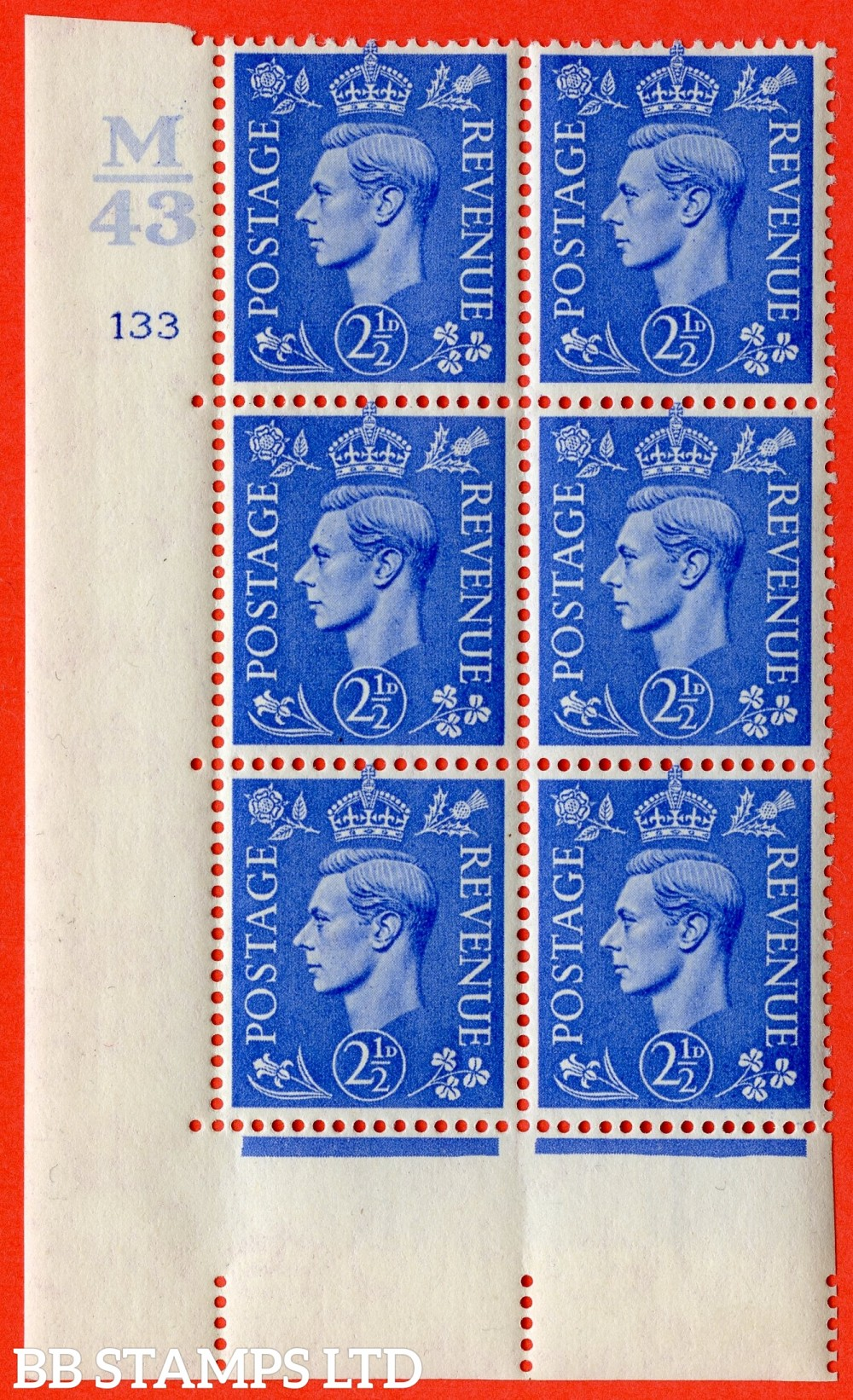 """SG. 489. Q14. 2½d Light ultramarine. A very fine lightly mounted mint """"  Control M43 cylinder 133 no dot """" control block of 6 with perf type 5 E/I."""
