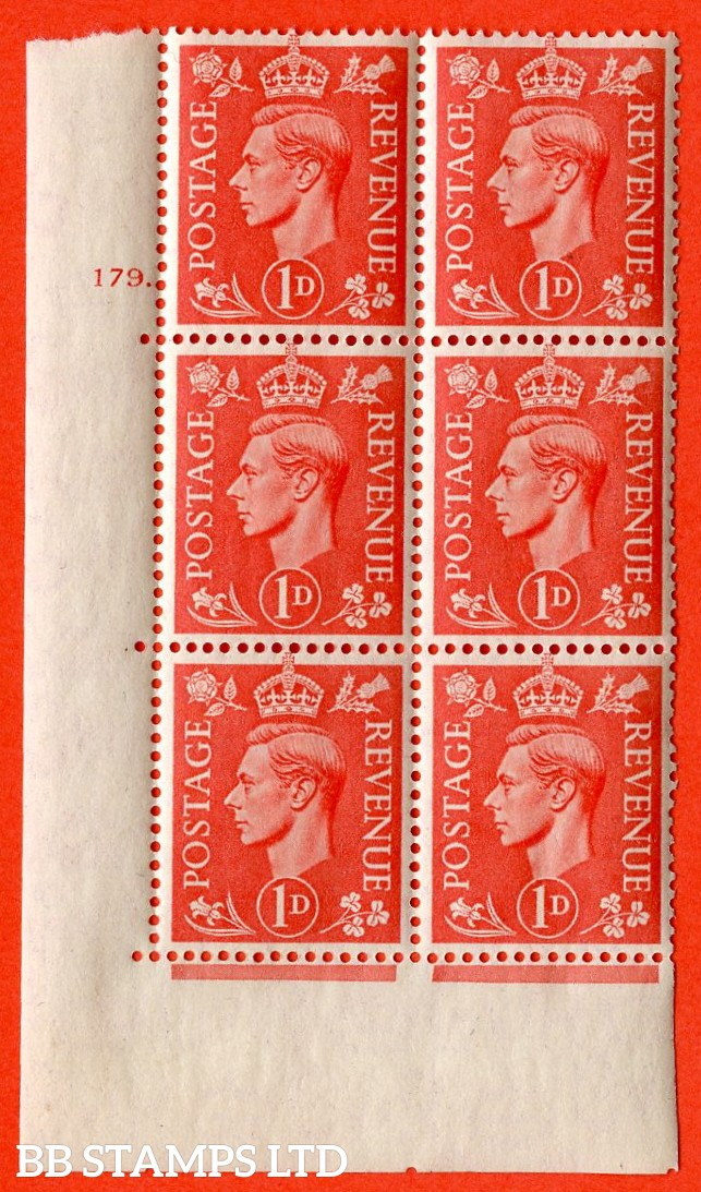 "SG. 486. Q5A. 1d Pale scarlet. A superb UNMOUNTED MINT "" No Control  cylinder 179 dot "" control block of 6 with perf type 5 E/I."