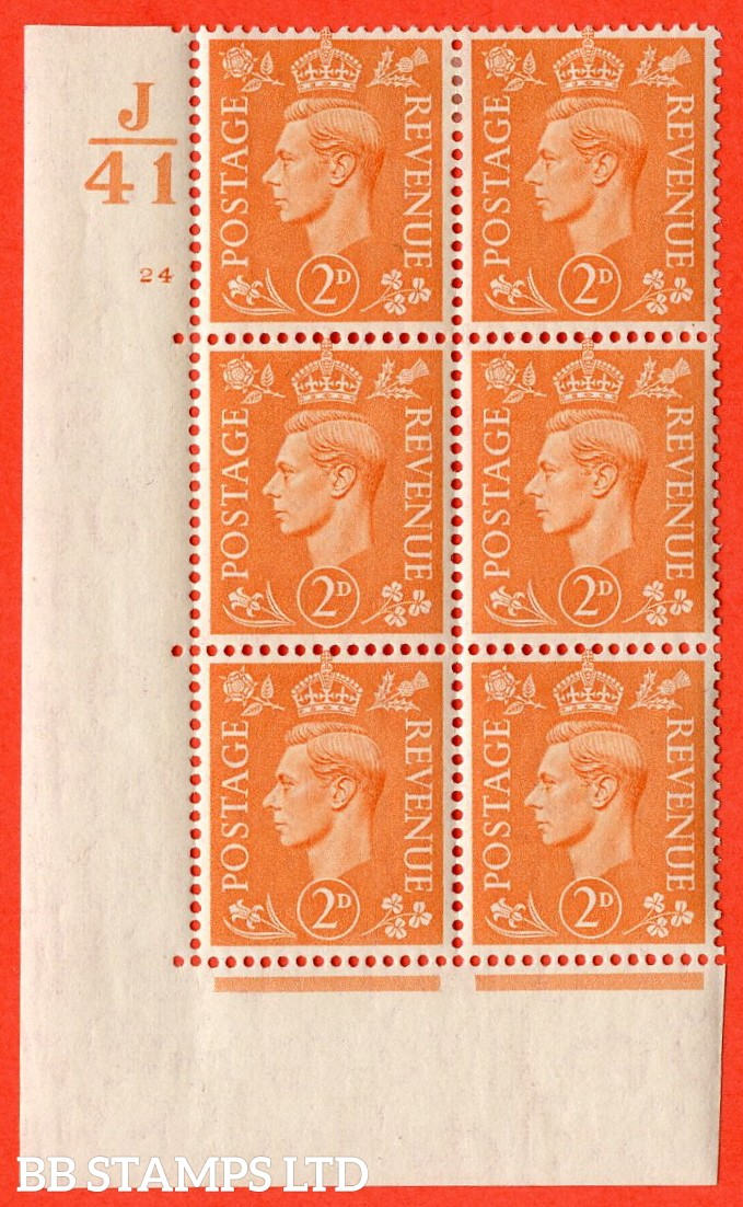 "SG. 488. Q11. 2d Pale Orange. A very fine lightly mounted mint. "" Control J41 cylinder 24 no dot "" control block of 6 with perf type 5 E/I."