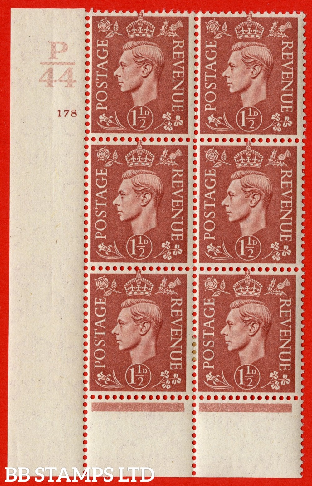 "SG. 487. Q8. 1½d Pale Red-Brown. A very fine lightly mounted mint "" Control P44 cylinder 178 no dot "" control block of 6 with perf type 6 I/P. with marginal rule"
