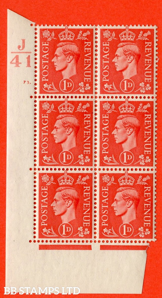 """SG. 486. Q5. 1d Pale scarlet. A superb UNMOUNTED MINT """"  Control J41 cylinder 73 dot """" control block of 6 with perf type 5 E/I."""