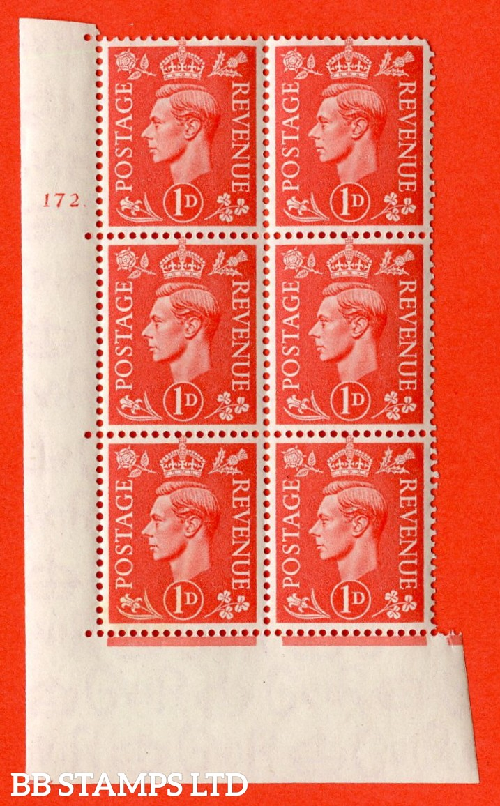 "SG. 486. Q5. 1d Pale scarlet. A superb UNMOUNTED MINT "" No Control cylinder 172 dot "" control block of 6 with perf type 5 E/I. Corner perf missing."