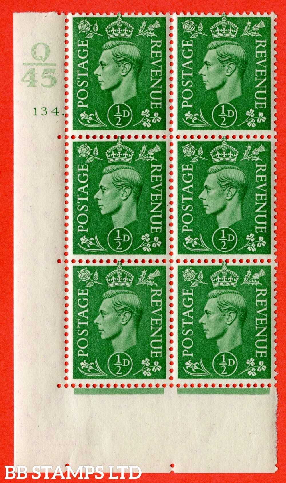 "SG. 485. Q2. ½d Pale Green. A very fine lightly mounted mint "" Control Q45 cylinder 134 dot "" block of 6 with perf type 5 E/I with marginal rule."