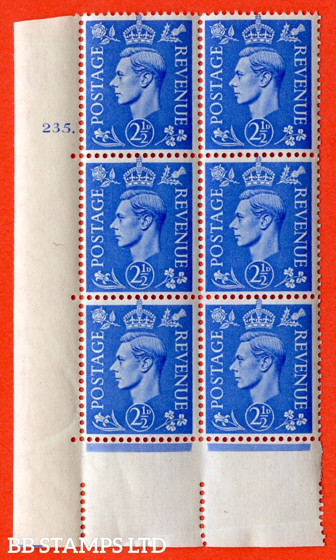 "SG. 489. Q14. 2½d Light ultramarine. A superb UNMOUNTED MINT "" No Control cylinder 235 dot "" control block of 6 with perf type 5 E/I."