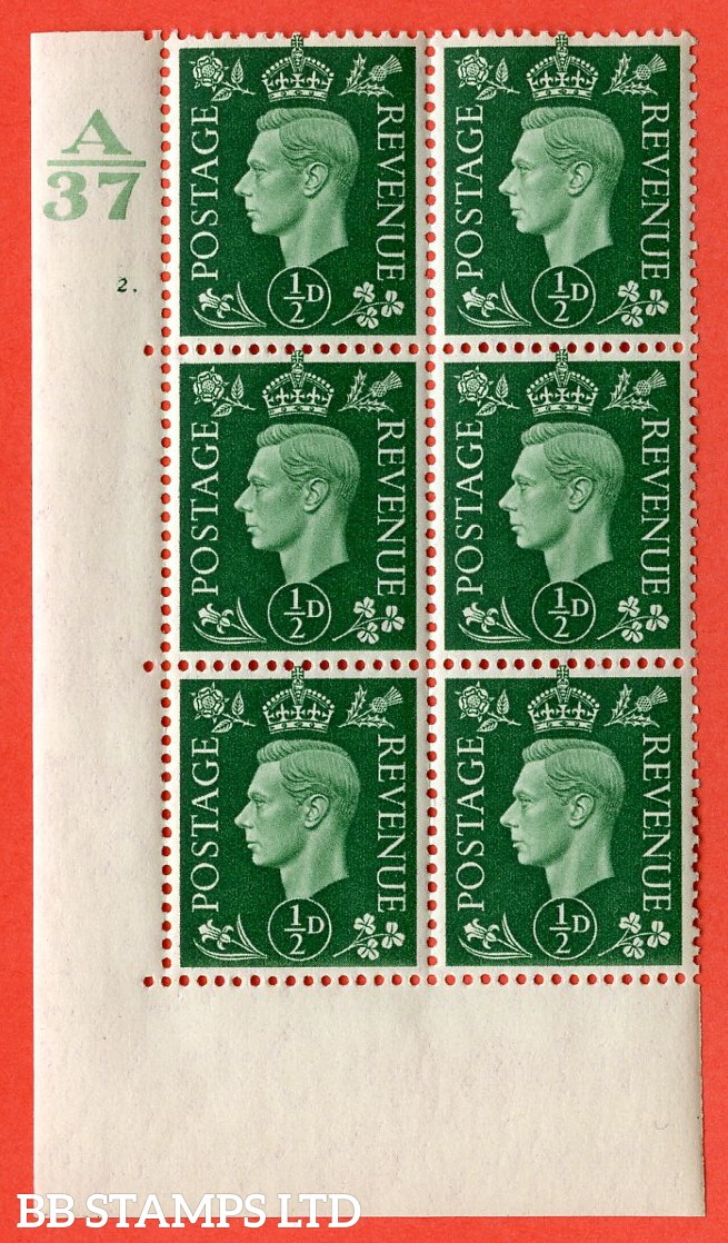 "SG. 462. Q1. ½d Green. A superb UNMOUNTED MINT"" Control A37 cylinder 2 dot "" block of 6 with perf type 5 E/I without marginal rule."