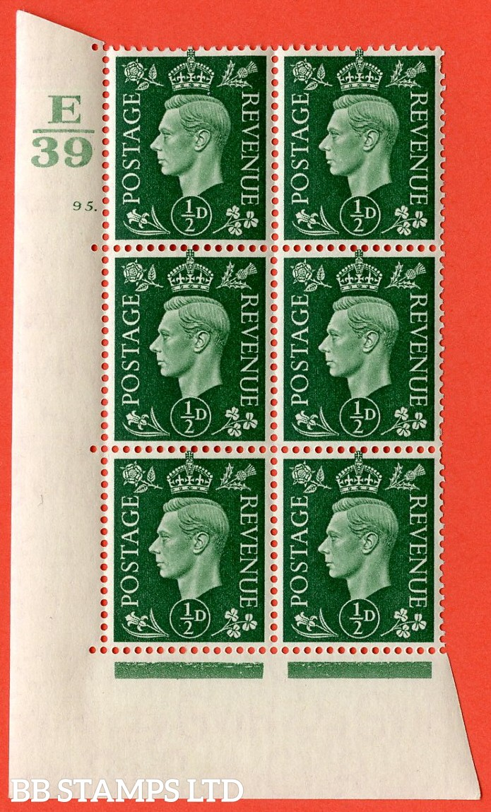 "SG. 462. Q1. ½d Green. A superb UNMOUNTED MINT "" Control E39 cylinder 95 dot "" block of 6 with perf type 5 E/I with marginal rule."