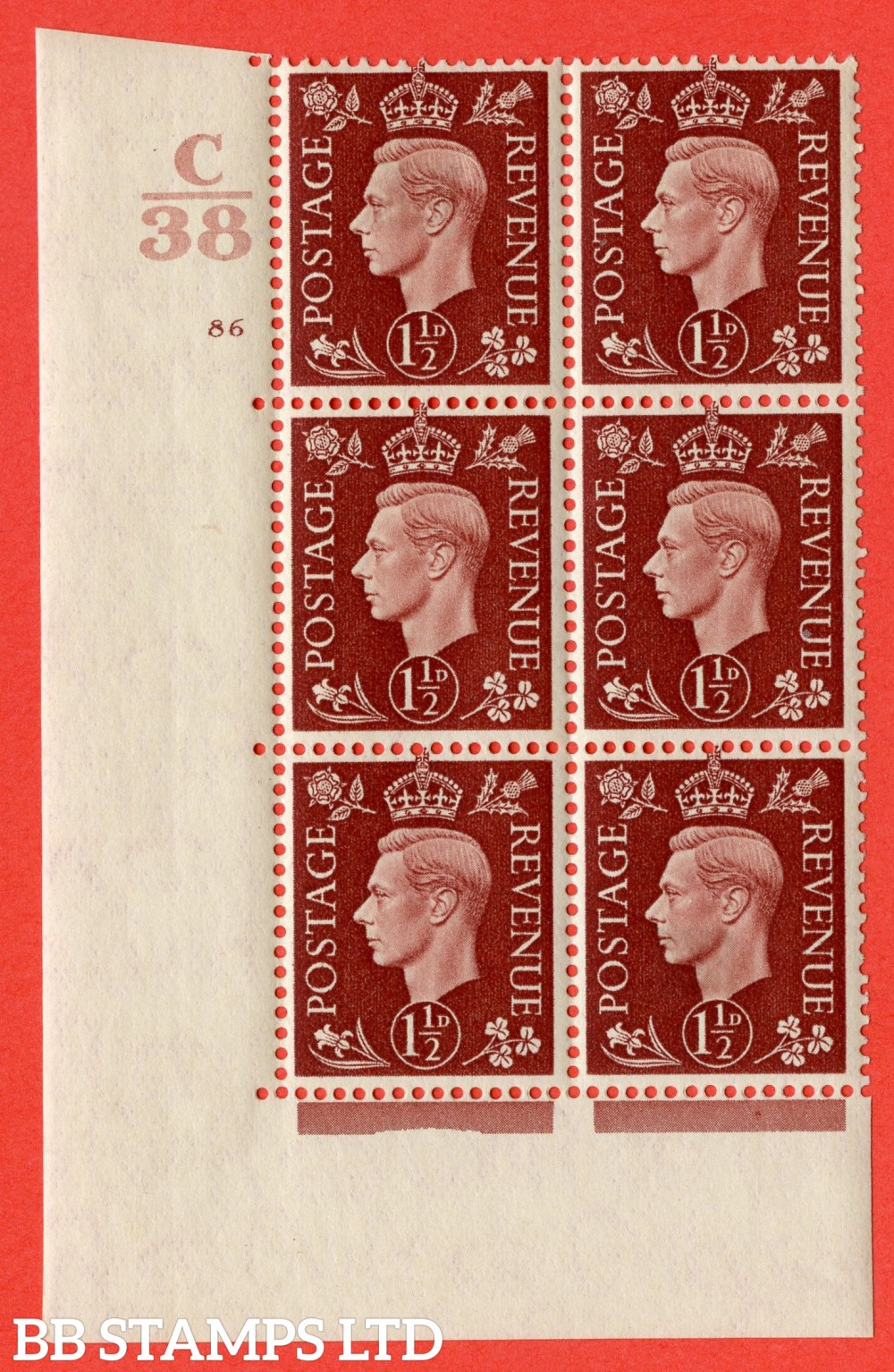 """SG. 464. Q7. 1½d Red-Brown. A fine lightly mounted mint """" Control C38 cylinder 86 no dot """" control block of 6 with perf type 5 E/I. with marginal rule."""