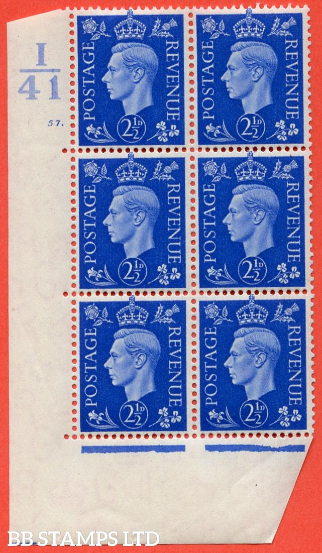 """SG. 466. Q13. 2½d Ultramarine.  A very fine lightly mounted mint """" Control I41 cylinder 57 dot """" control block of 6 with perf type 5 E/I with marginal rule."""