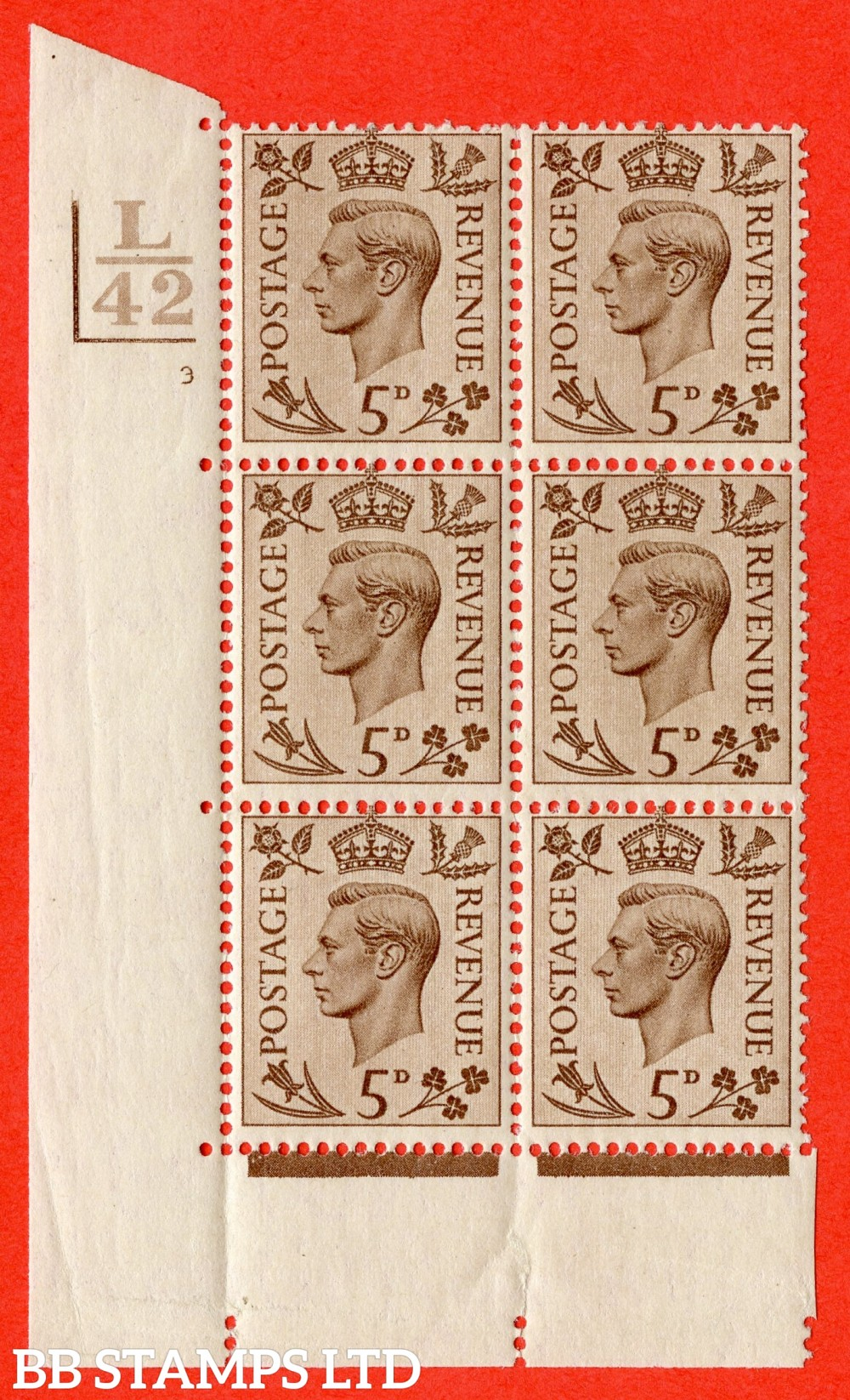 """SG. 469. Q21. 5d Brown. A superb UNMOUNTED MINT """" Control L42 Bar bottom and left cylinder 3 no dot """" control block of 6 with perf type 5 E/I."""