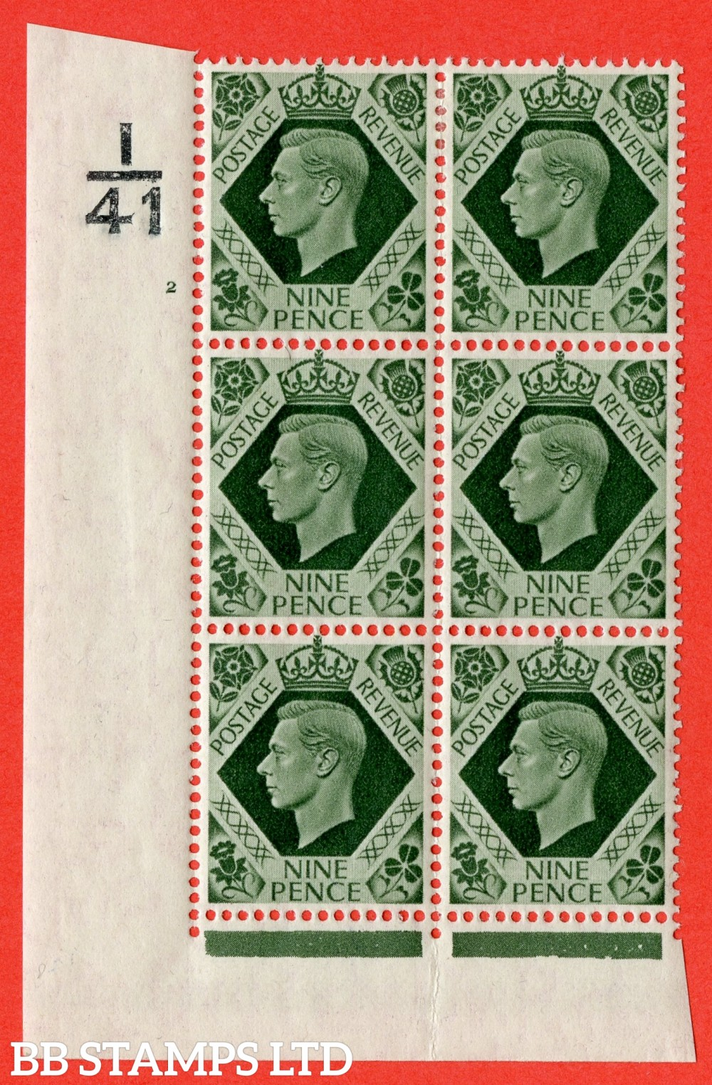 "SG. 473. Q25. b. 9d Olive-Green. A fine mounted mint "" Control K42 cylinder 2 no dot "" control block of 6 with perf type 2 I/E. with listed variety "" Serif touched out "" row 18/1. Crease in margin."