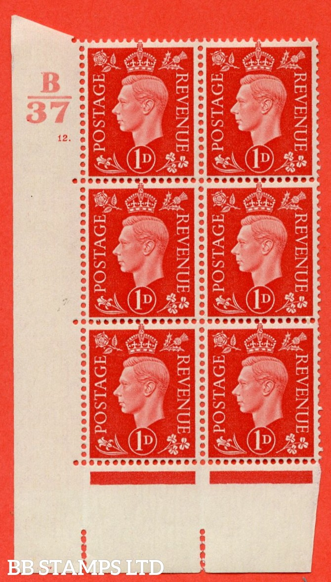 """SG. 463. Q4. 1d Scarlet. A superb UNMOUNTED MINT """" Control B37 cylinder 12 dot """" block of 6 with perf type 5 E/I with marginal rule."""